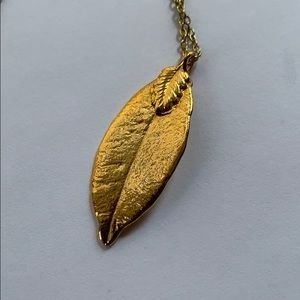 VINTAGE 80s Leaf dipped in GOLD necklace